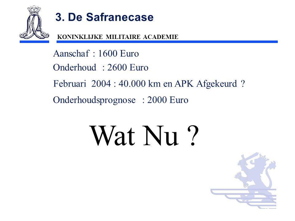 Wat Nu 3. De Safranecase Aanschaf : 1600 Euro Onderhoud : 2600 Euro