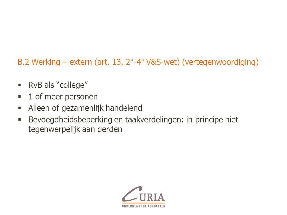 B.2 Werking – extern (art. 13, 2°-4° V&S-wet) (vertegenwoordiging)