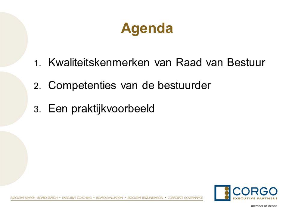 Agenda Kwaliteitskenmerken van Raad van Bestuur