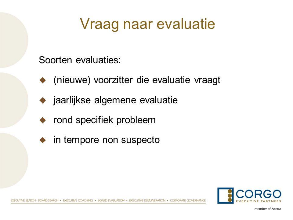 Vraag naar evaluatie Soorten evaluaties: