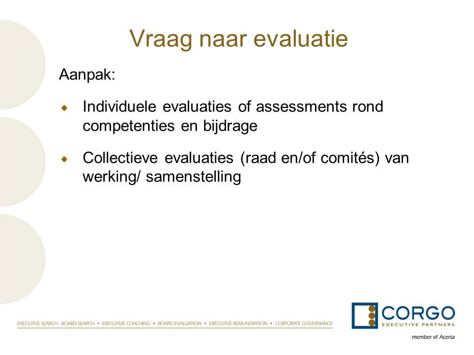 Vraag naar evaluatie Aanpak: