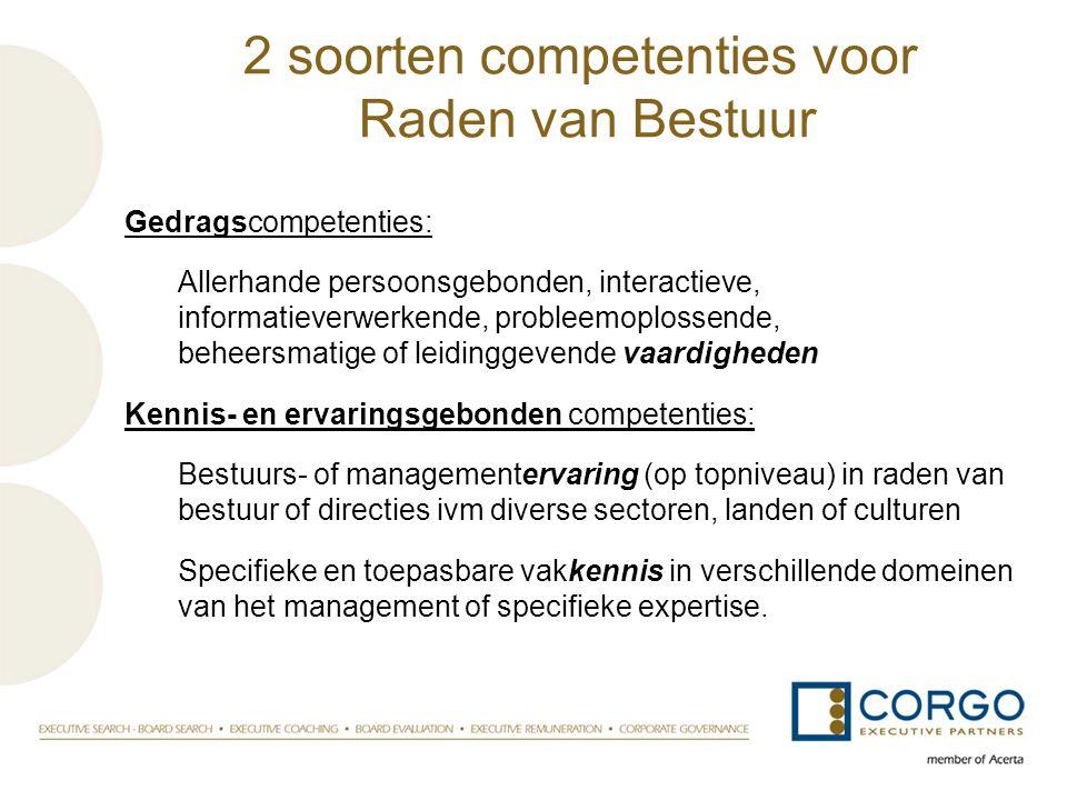 2 soorten competenties voor Raden van Bestuur