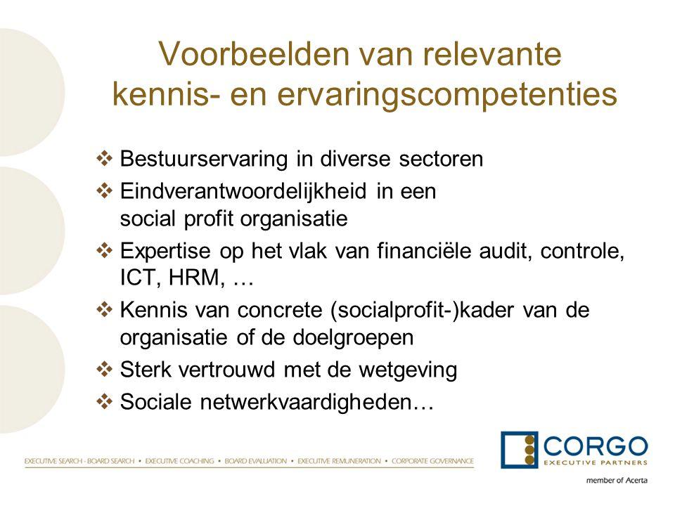 Voorbeelden van relevante kennis- en ervaringscompetenties