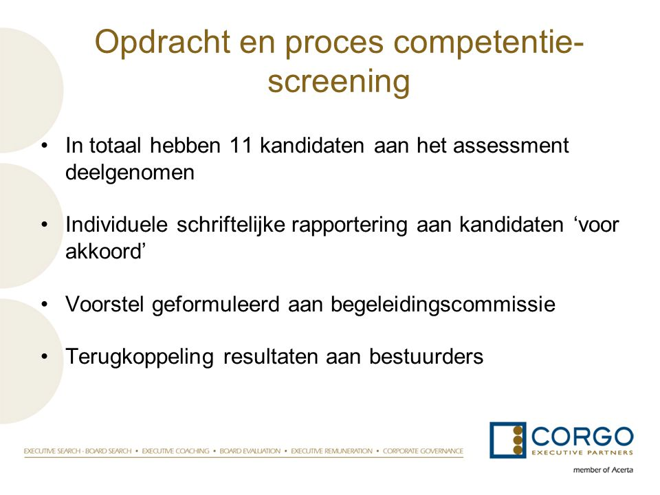 Opdracht en proces competentie-screening