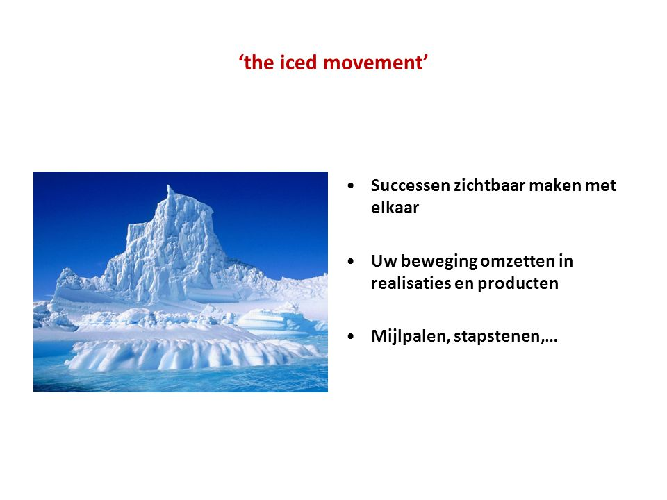 'the iced movement' Successen zichtbaar maken met elkaar