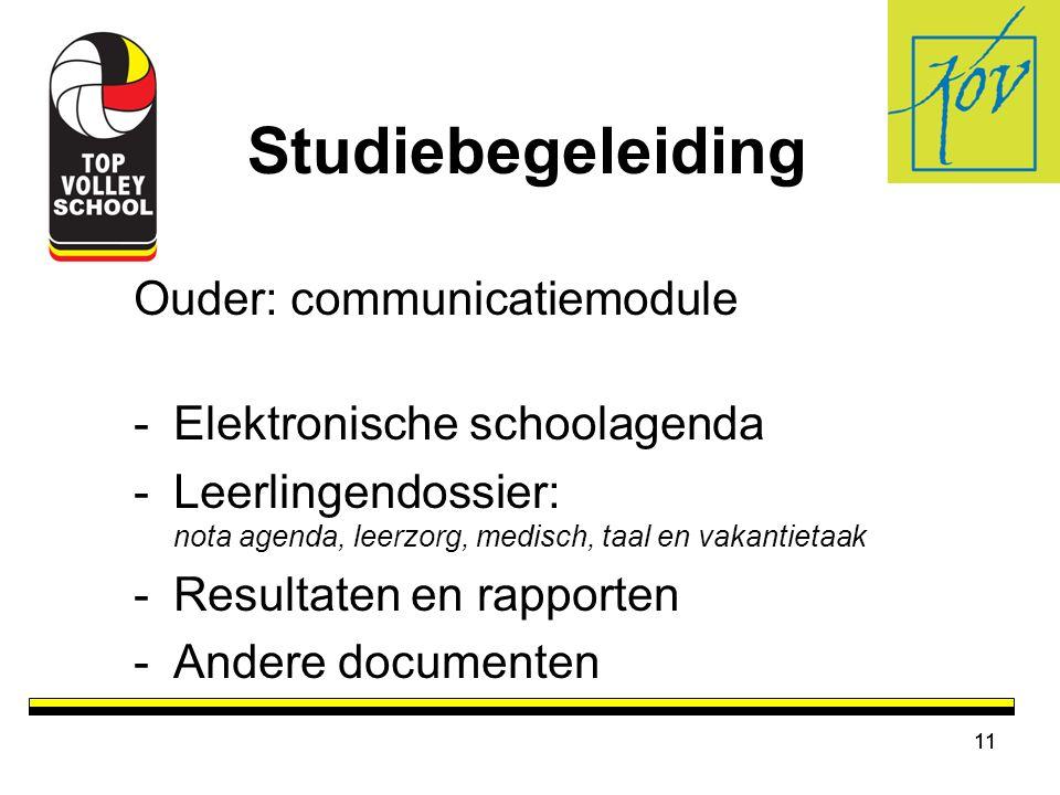 Studiebegeleiding Ouder: communicatiemodule Elektronische schoolagenda