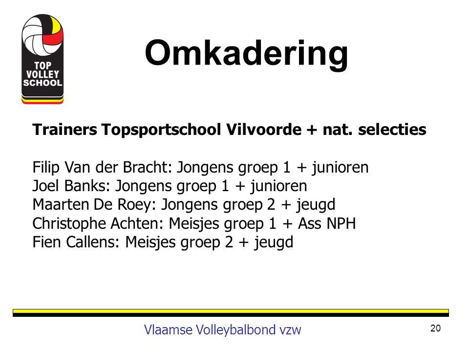 Omkadering Trainers Topsportschool Vilvoorde + nat. selecties