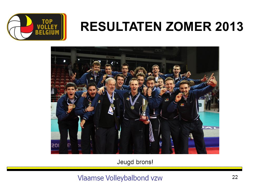RESULTATEN ZOMER 2013 Jeugd brons! Vlaamse Volleybalbond vzw
