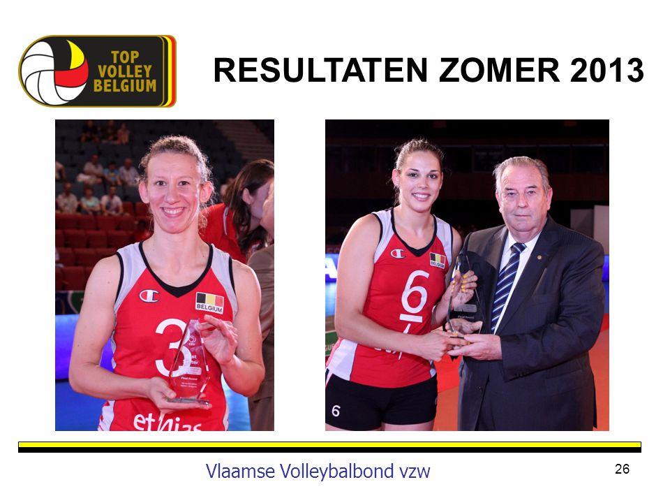RESULTATEN ZOMER 2013 Vlaamse Volleybalbond vzw