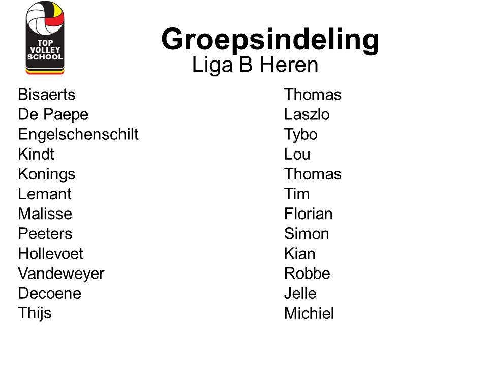 Groepsindeling Liga B Heren Bisaerts Thomas De Paepe Laszlo