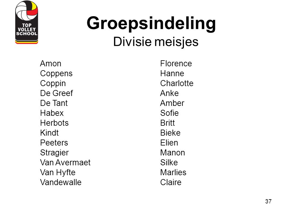 Groepsindeling Divisie meisjes Amon Florence Coppens Hanne Coppin