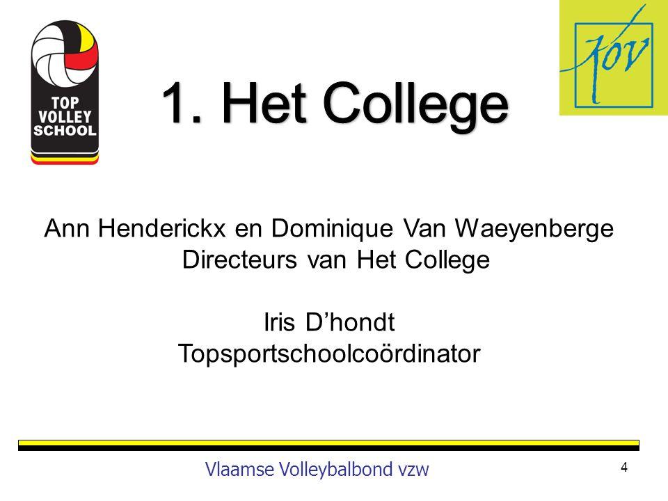 1. Het College Ann Henderickx en Dominique Van Waeyenberge Directeurs van Het College. Iris D'hondt.