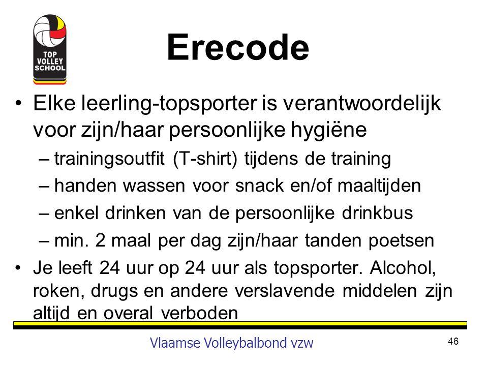 Erecode Elke leerling-topsporter is verantwoordelijk voor zijn/haar persoonlijke hygiëne. trainingsoutfit (T-shirt) tijdens de training.