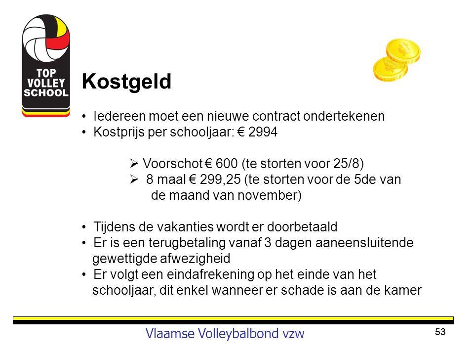 Kostgeld Vlaamse Volleybalbond vzw