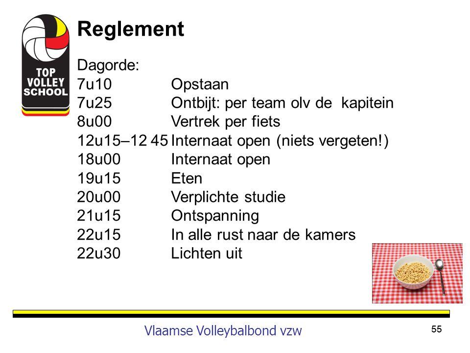Reglement Dagorde: 7u10 Opstaan 7u25 Ontbijt: per team olv de kapitein