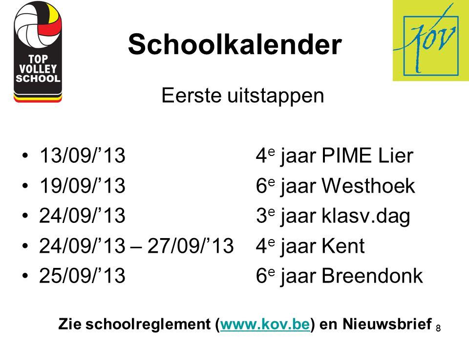 Zie schoolreglement (www.kov.be) en Nieuwsbrief