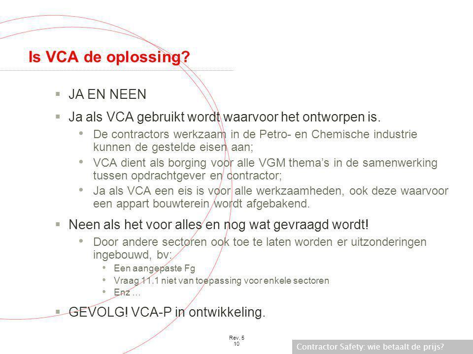 Is VCA de oplossing JA EN NEEN