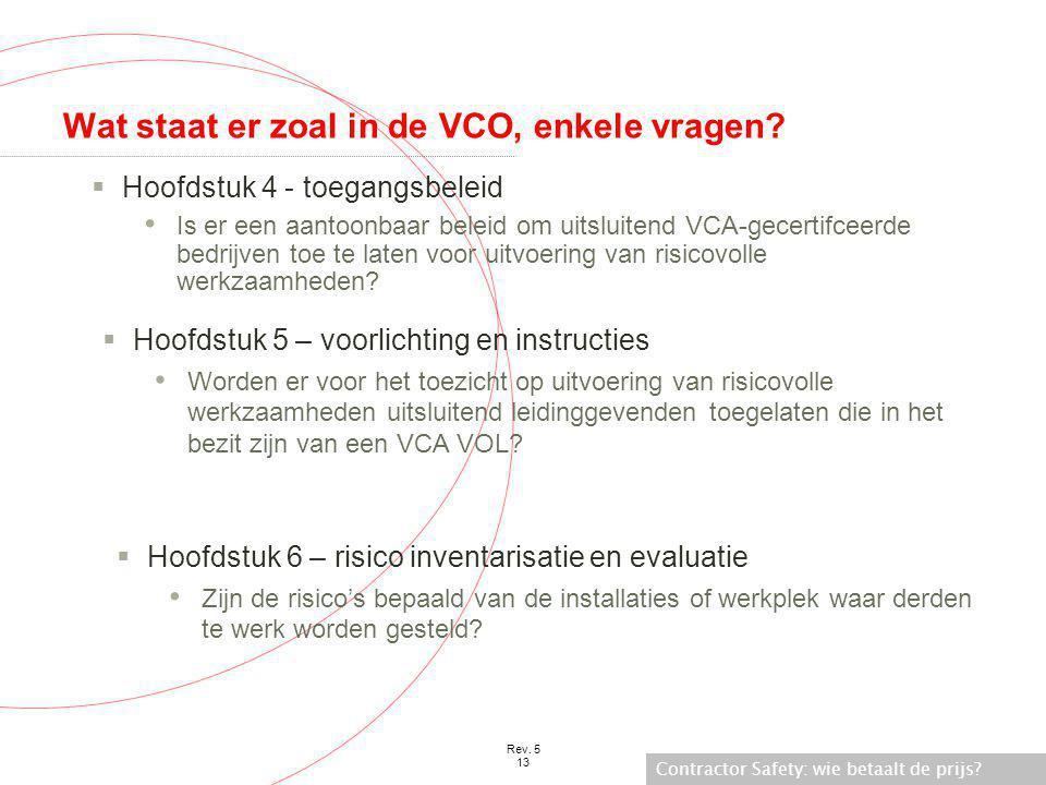 Wat staat er zoal in de VCO, enkele vragen