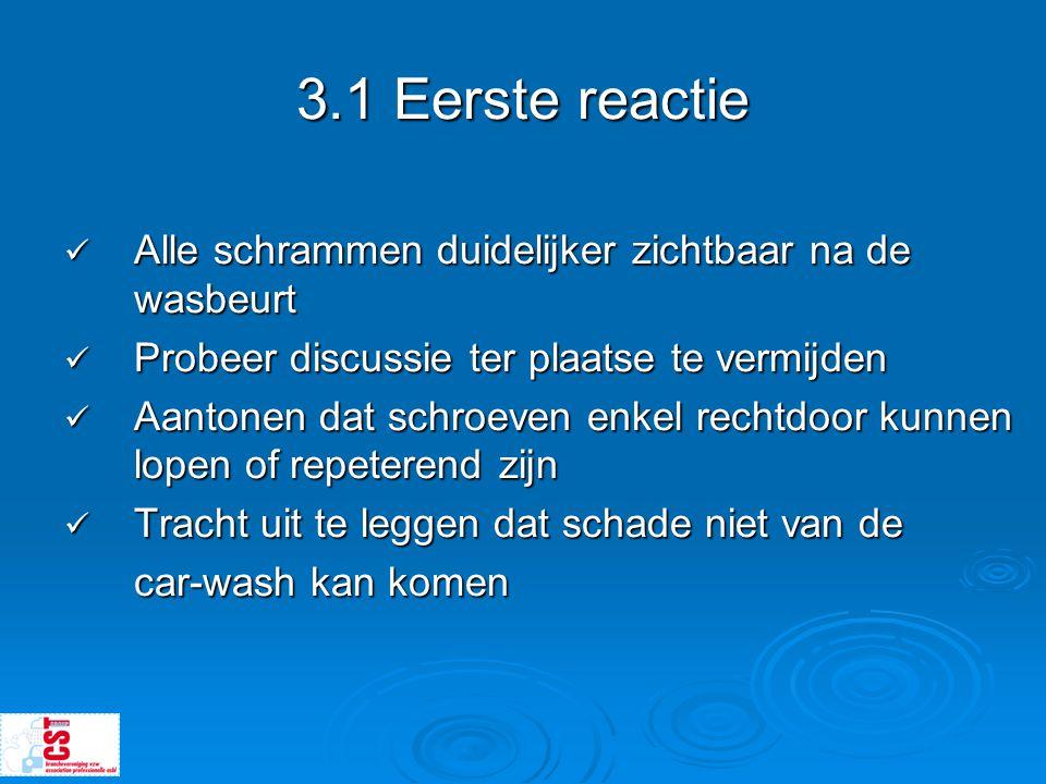 3.1 Eerste reactie Alle schrammen duidelijker zichtbaar na de wasbeurt