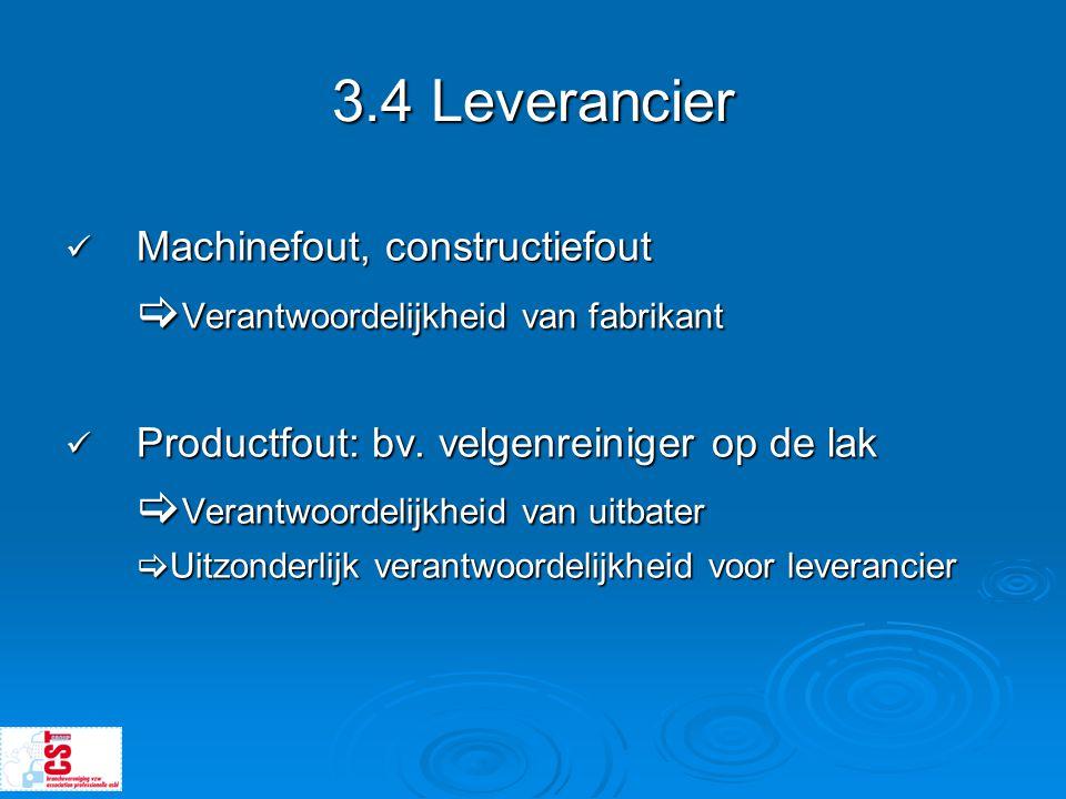 3.4 Leverancier Verantwoordelijkheid van fabrikant