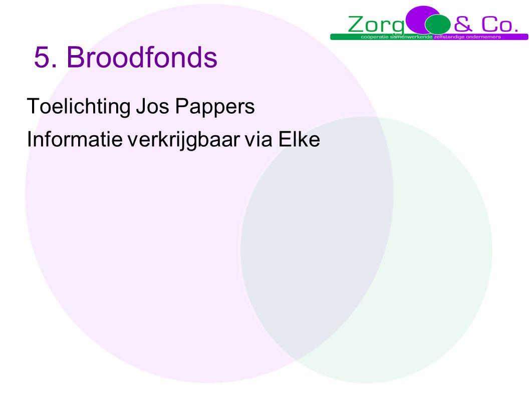 5. Broodfonds Toelichting Jos Pappers Informatie verkrijgbaar via Elke