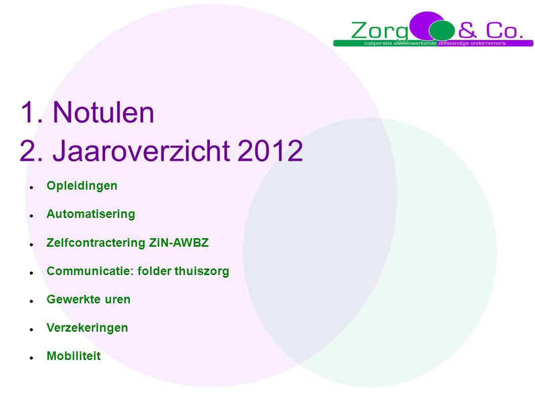 1. Notulen 2. Jaaroverzicht 2012 Opleidingen Automatisering