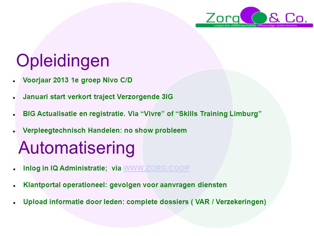 Opleidingen Automatisering Voorjaar 2013 1e groep Nivo C/D
