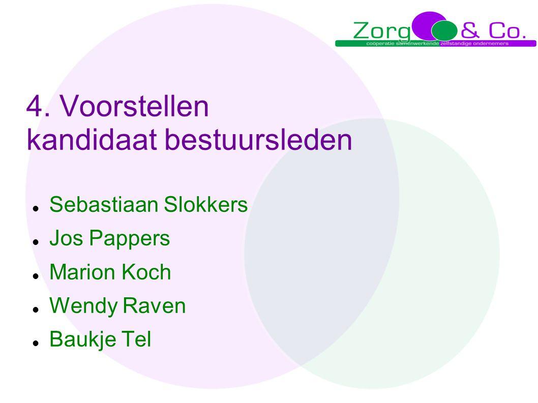 4. Voorstellen kandidaat bestuursleden