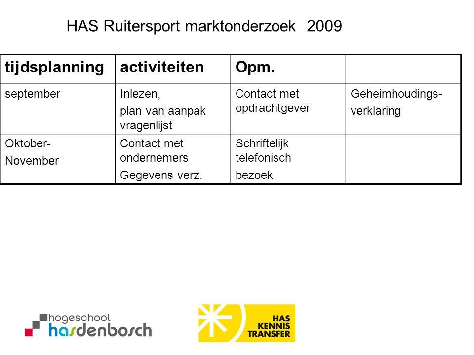 HAS Ruitersport marktonderzoek 2009 tijdsplanning activiteiten Opm.