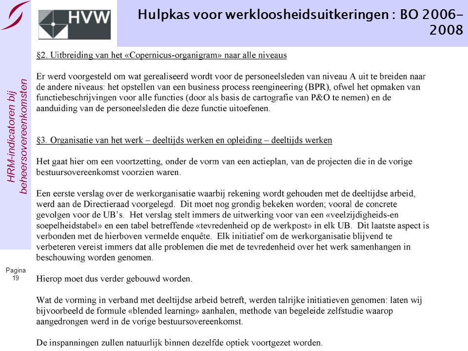 Hulpkas voor werkloosheidsuitkeringen : BO 2006-2008