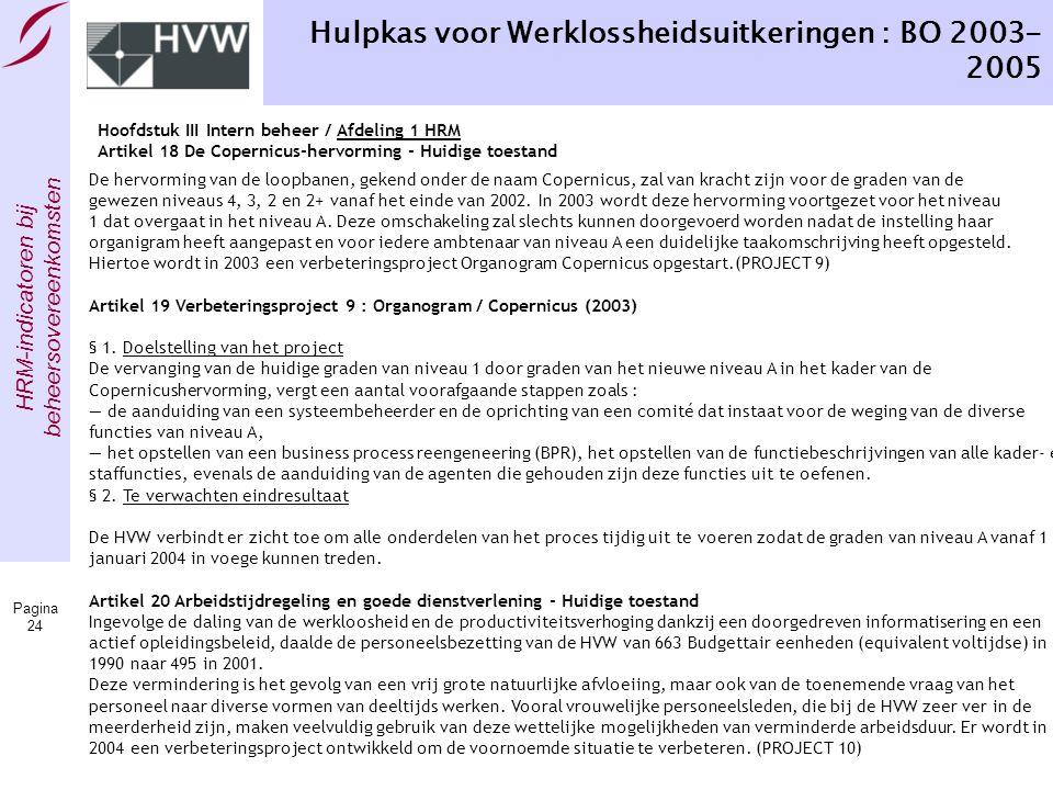 Hulpkas voor Werklossheidsuitkeringen : BO 2003-2005