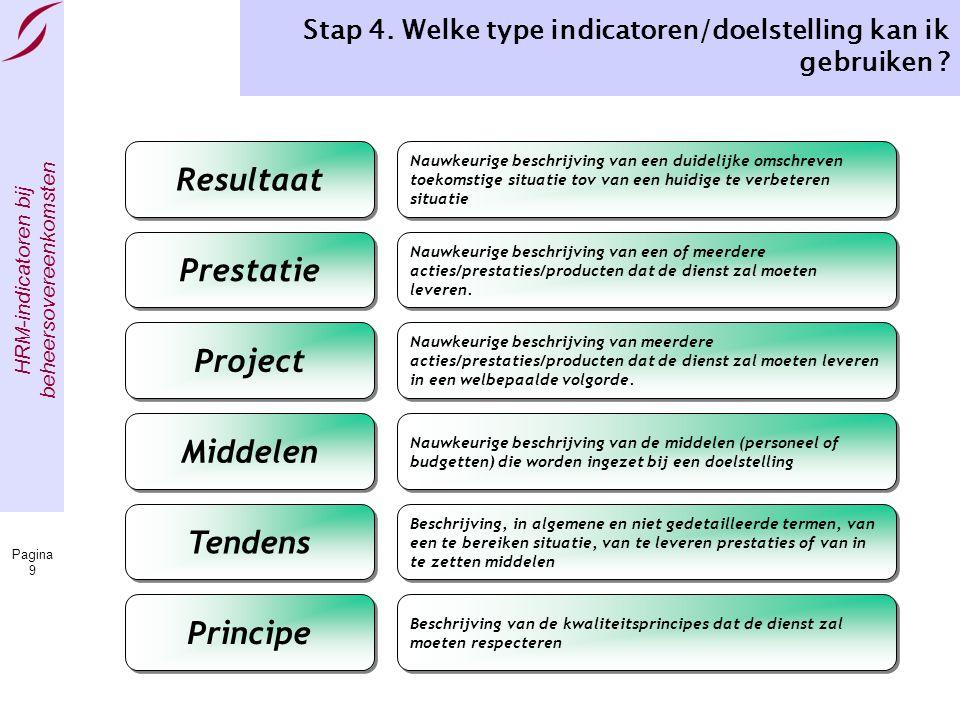 Stap 4. Welke type indicatoren/doelstelling kan ik gebruiken