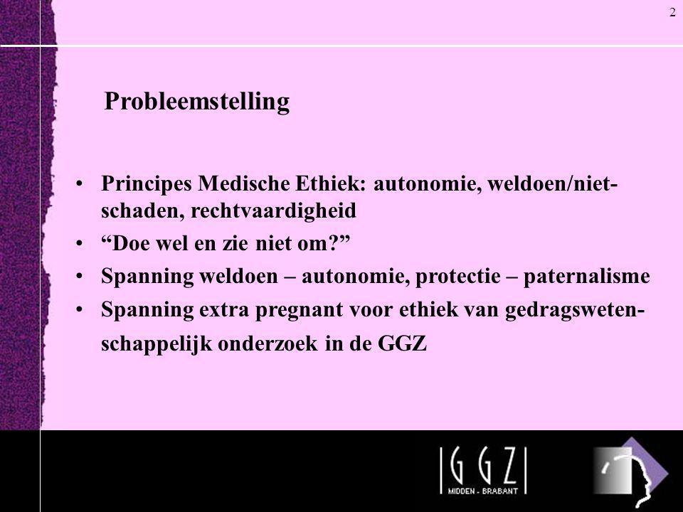 2 Probleemstelling. Principes Medische Ethiek: autonomie, weldoen/niet-schaden, rechtvaardigheid. Doe wel en zie niet om