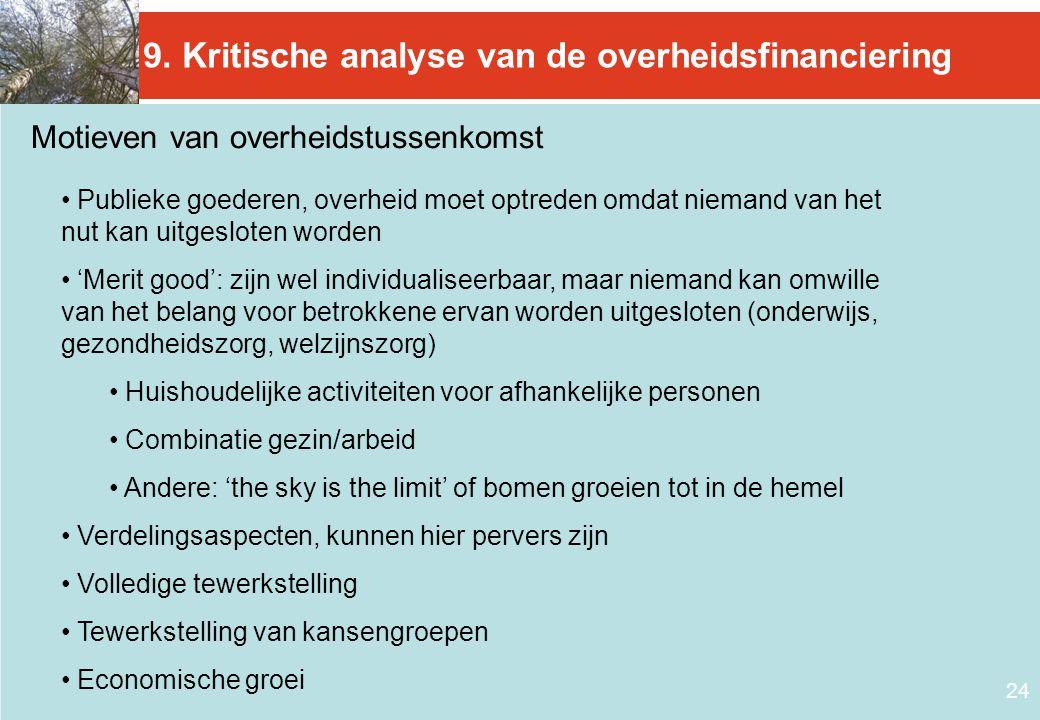 9. Kritische analyse van de overheidsfinanciering