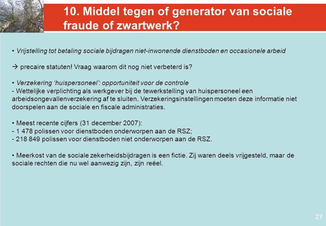 10. Middel tegen of generator van sociale fraude of zwartwerk
