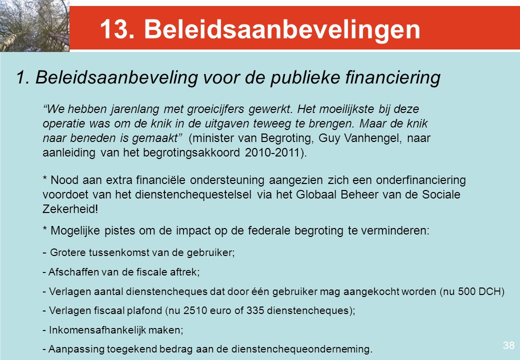 13. Beleidsaanbevelingen