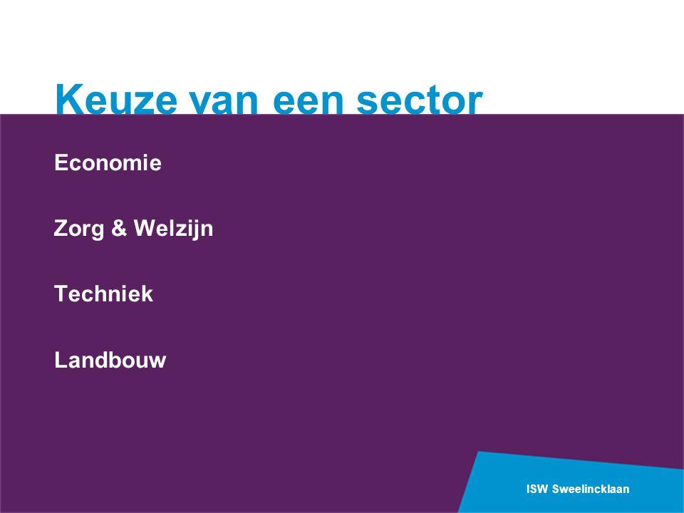 Keuze van een sector Economie Zorg & Welzijn Techniek Landbouw