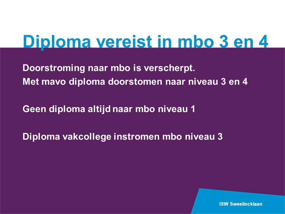 Diploma vereist in mbo 3 en 4