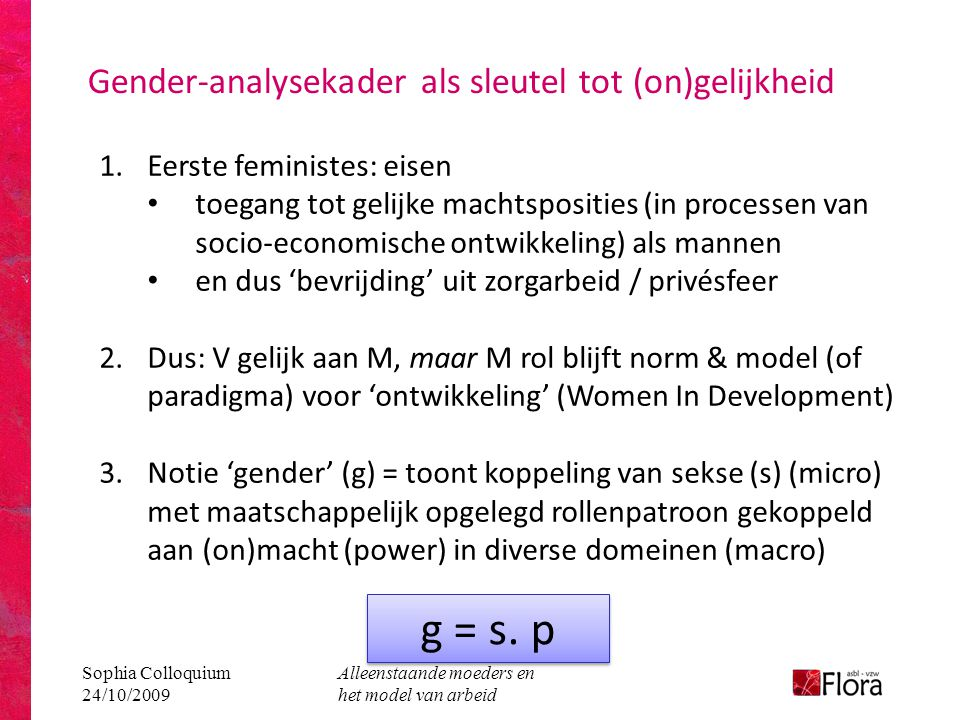 Gender-analysekader als sleutel tot (on)gelijkheid