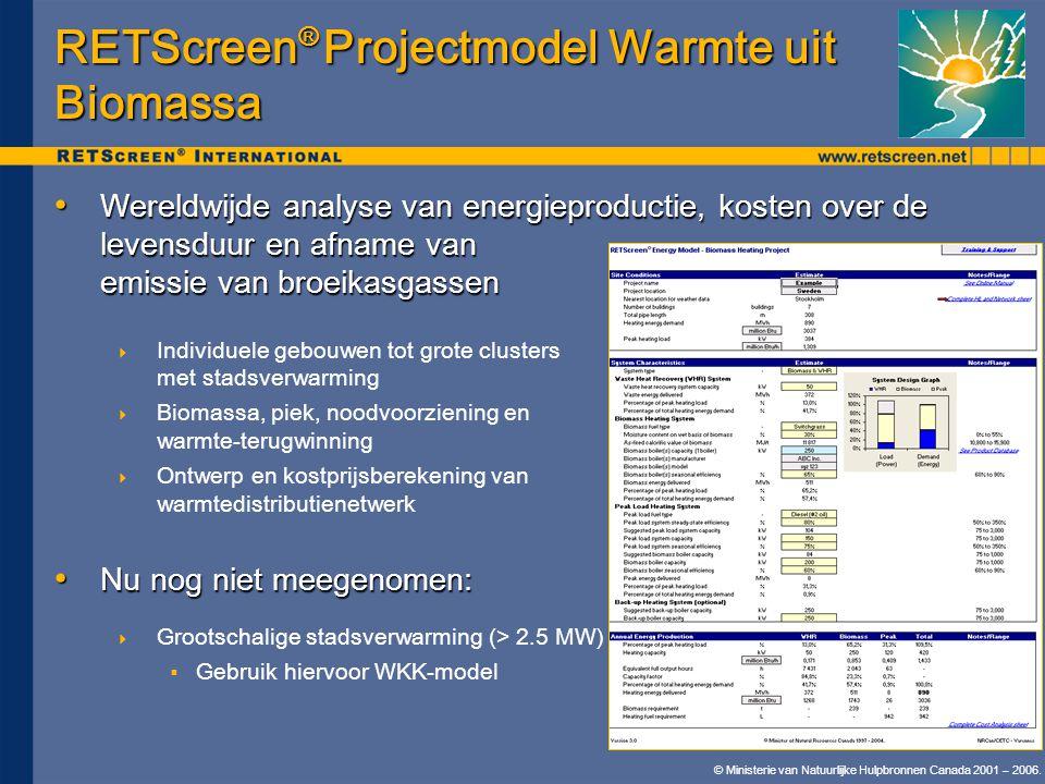 RETScreen® Projectmodel Warmte uit Biomassa