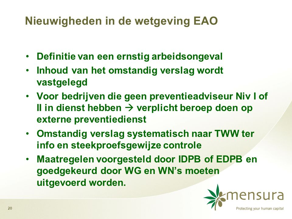 Nieuwigheden in de wetgeving EAO