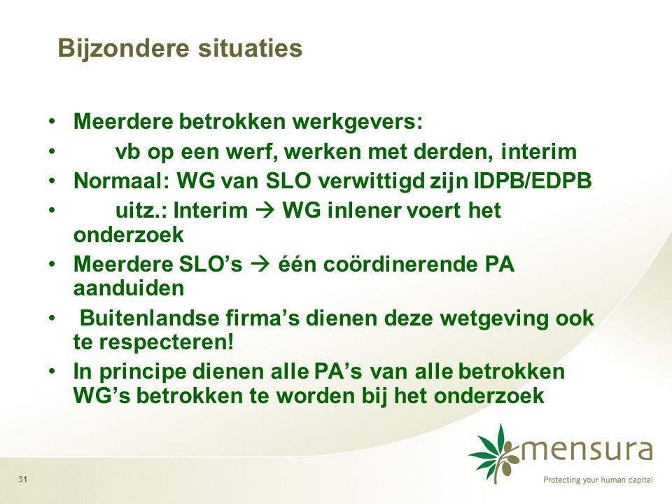 Bijzondere situaties Meerdere betrokken werkgevers:
