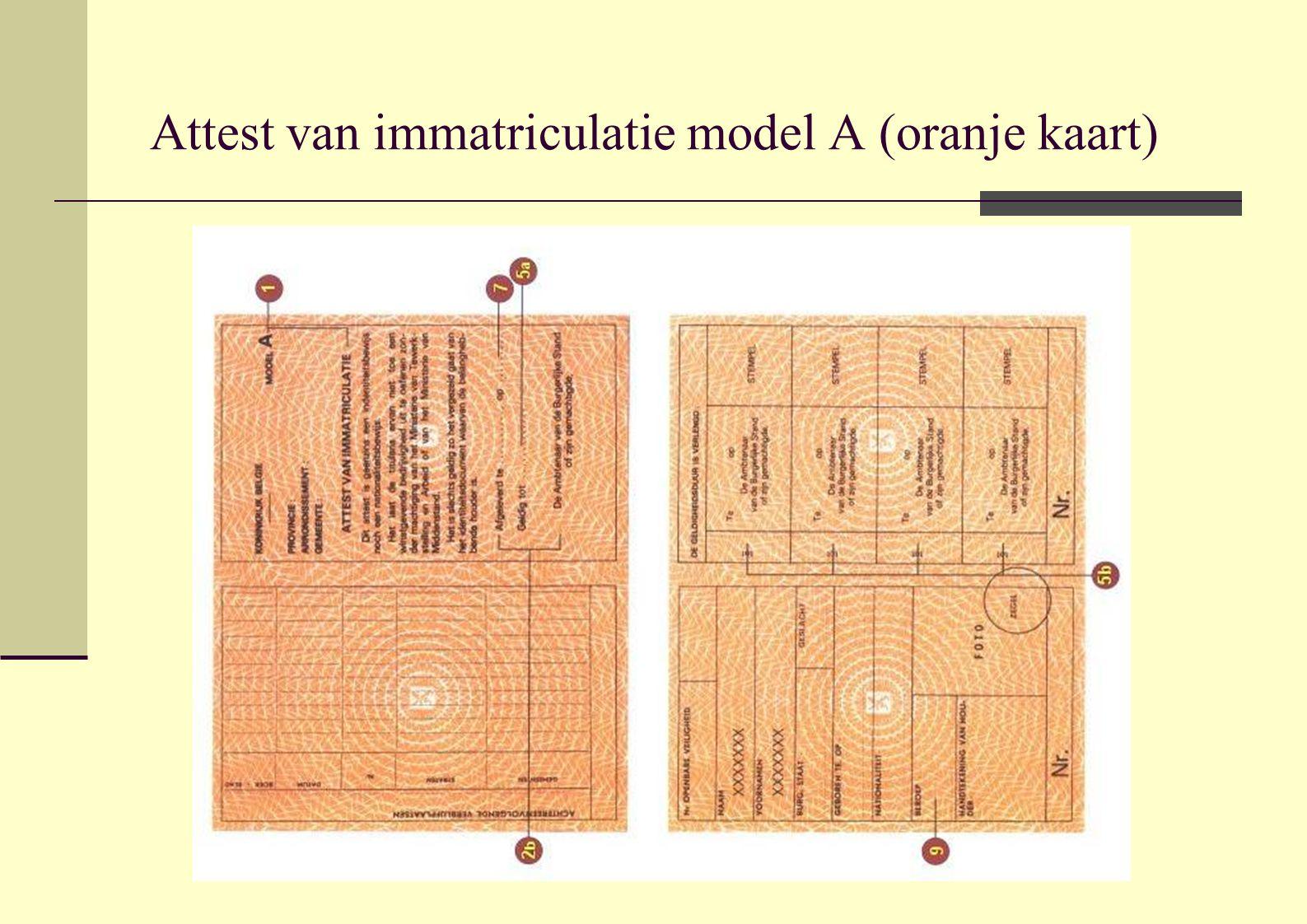 Attest van immatriculatie model A (oranje kaart)