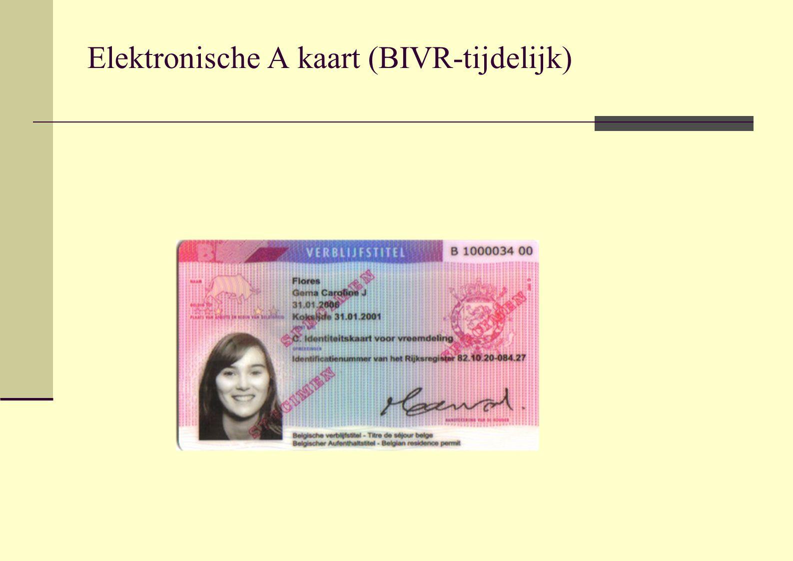 Elektronische A kaart (BIVR-tijdelijk)