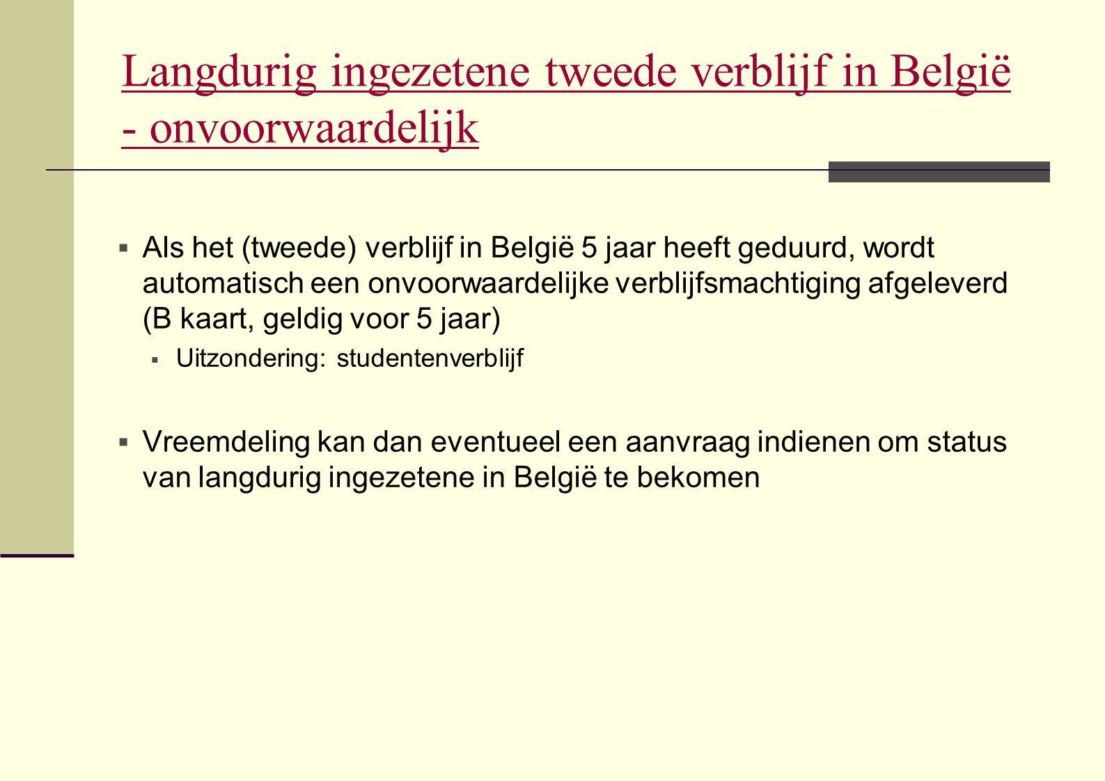 Langdurig ingezetene tweede verblijf in België - onvoorwaardelijk
