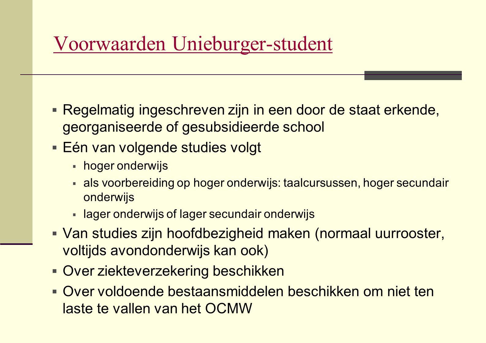 Voorwaarden Unieburger-student