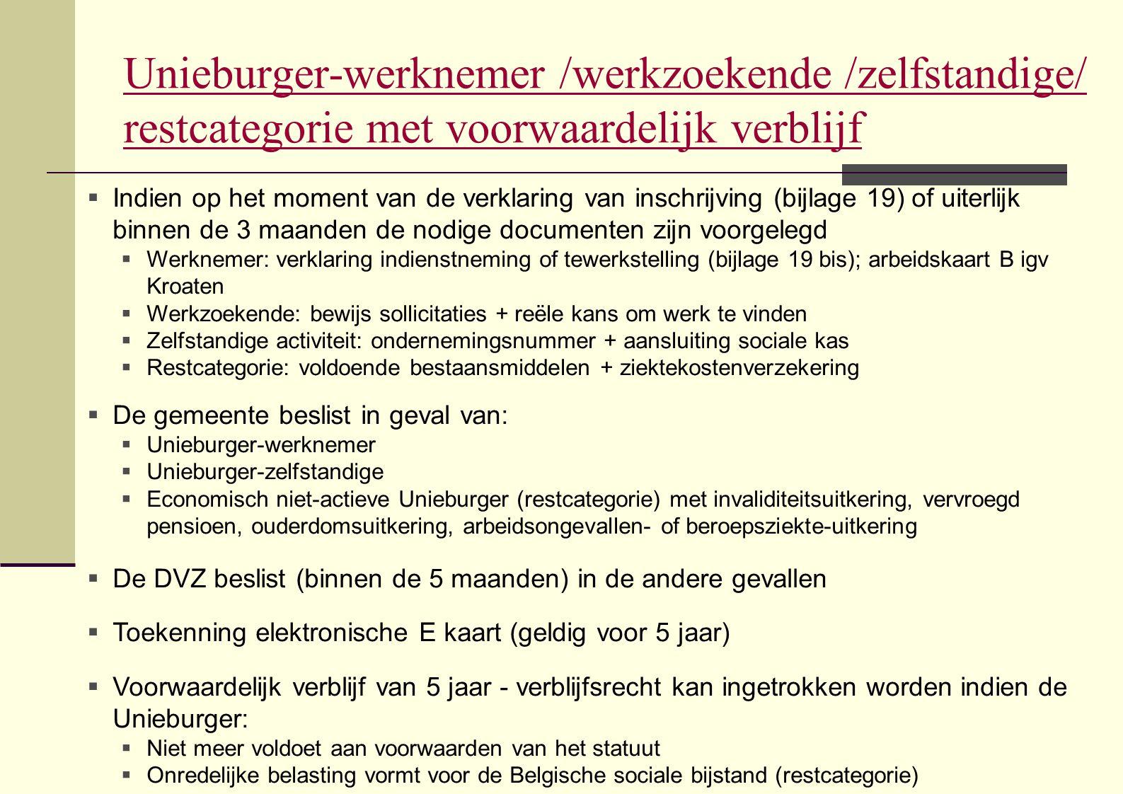 Unieburger-werknemer /werkzoekende /zelfstandige/ restcategorie met voorwaardelijk verblijf
