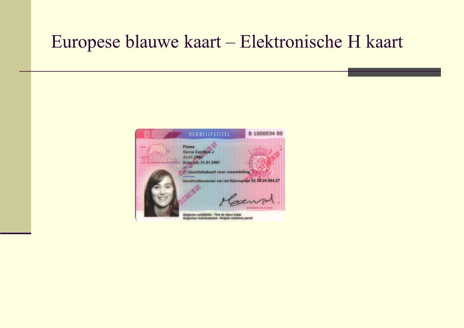 Europese blauwe kaart – Elektronische H kaart