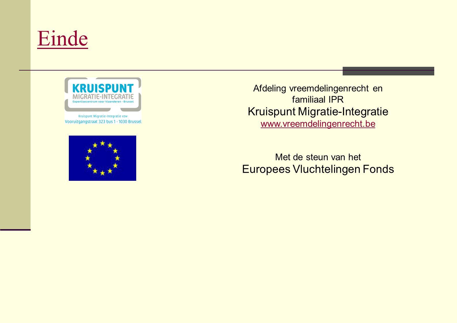 Einde Kruispunt Migratie-Integratie Europees Vluchtelingen Fonds