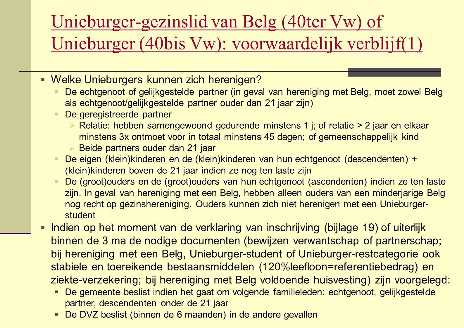 Unieburger-gezinslid van Belg (40ter Vw) of Unieburger (40bis Vw): voorwaardelijk verblijf(1)